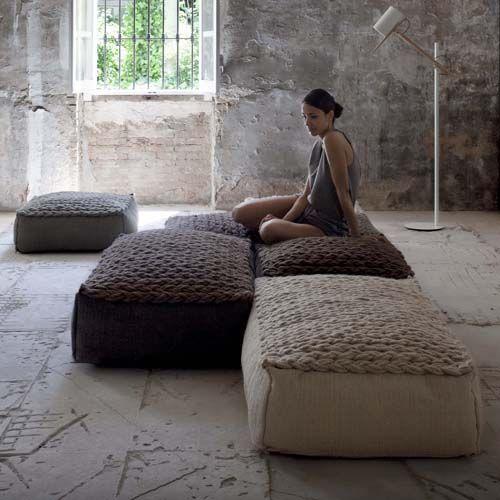 Phenomenal Gandia Blasco Trenzas Large Pouf In 2019 Floor Cushions Customarchery Wood Chair Design Ideas Customarcherynet