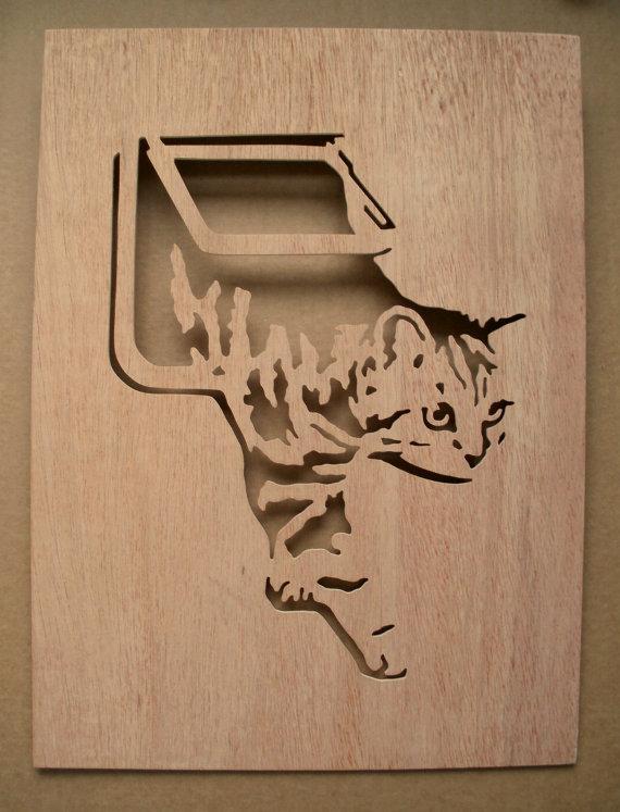 Cat Flap Wooden Stencil Pet Door Scroll Saw Patterns