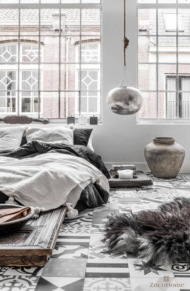 grey love loft avec carreau ciment linge de lit en lin carrelage tiles