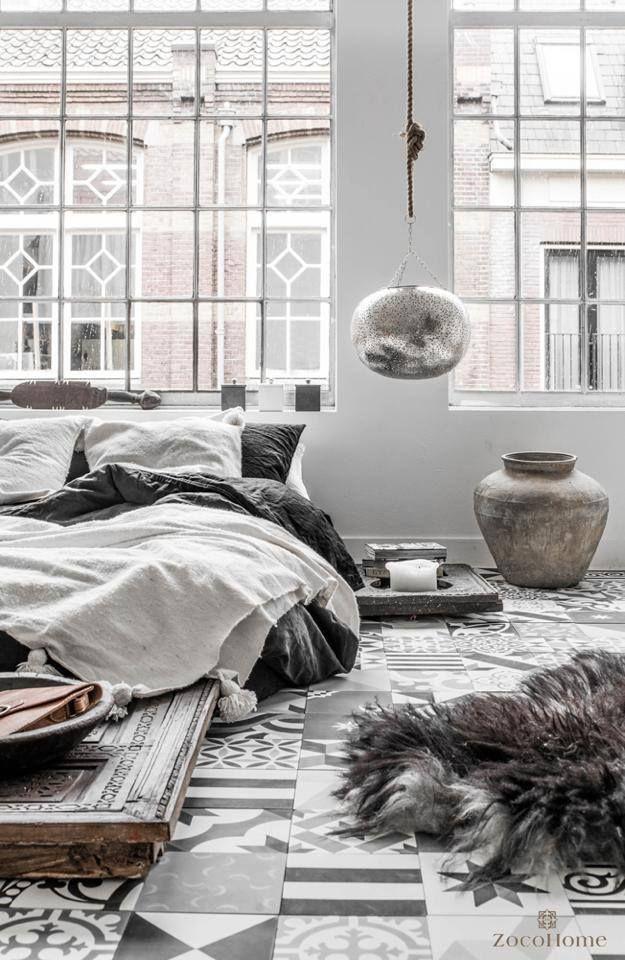 grey love loft avec carreau ciment, linge de lit en lin carrelage tiles