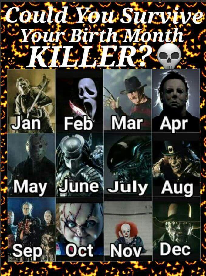 your birth month killer halloween amp horror
