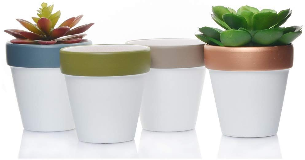 Ceramic Terracotta Flower Pots 4 Inch Small Clay Succulents Planter Ceramic Pottery Terra Cotta Flower Pot Cactus Nursery Pots Great Window Boxes Cacti Plants Terracotta Flower Pots Ceramic Succulent Planter Succulent Planter