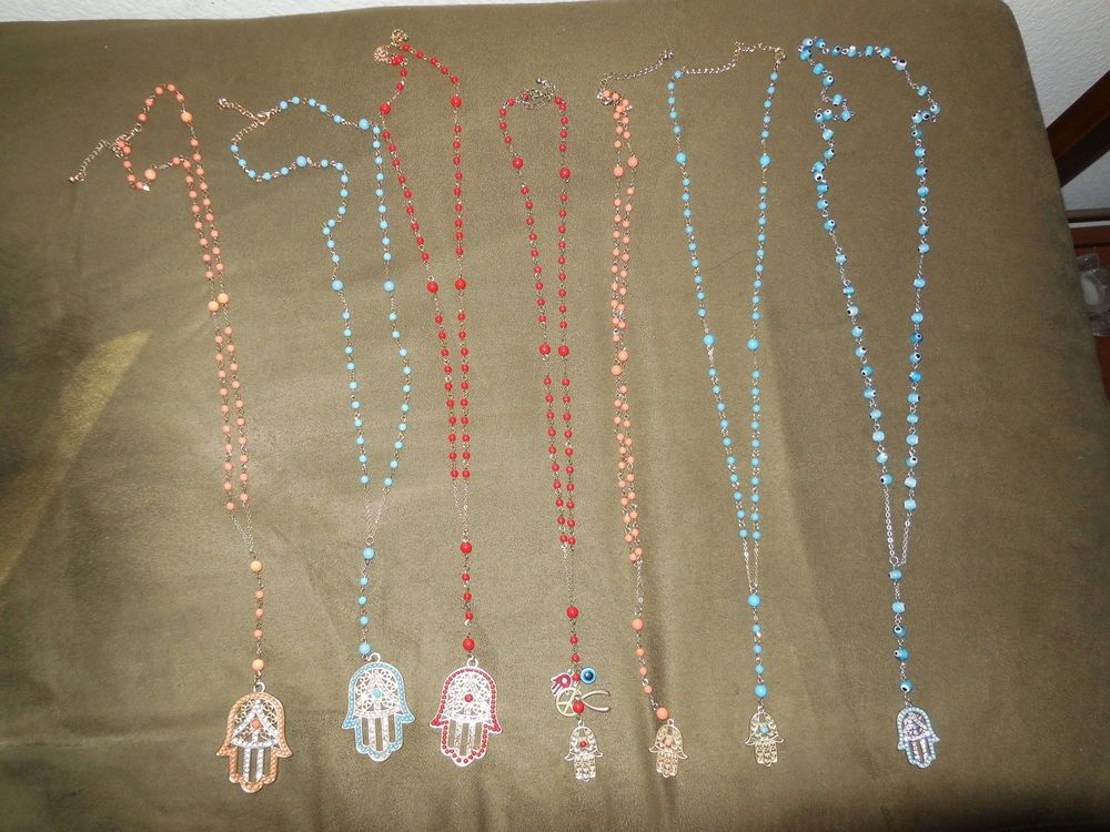 Hamsa Hand Evil Eye Rosary Style Necklace Charm Pendent 5 Colors Designs Choose #Handmade #rosary