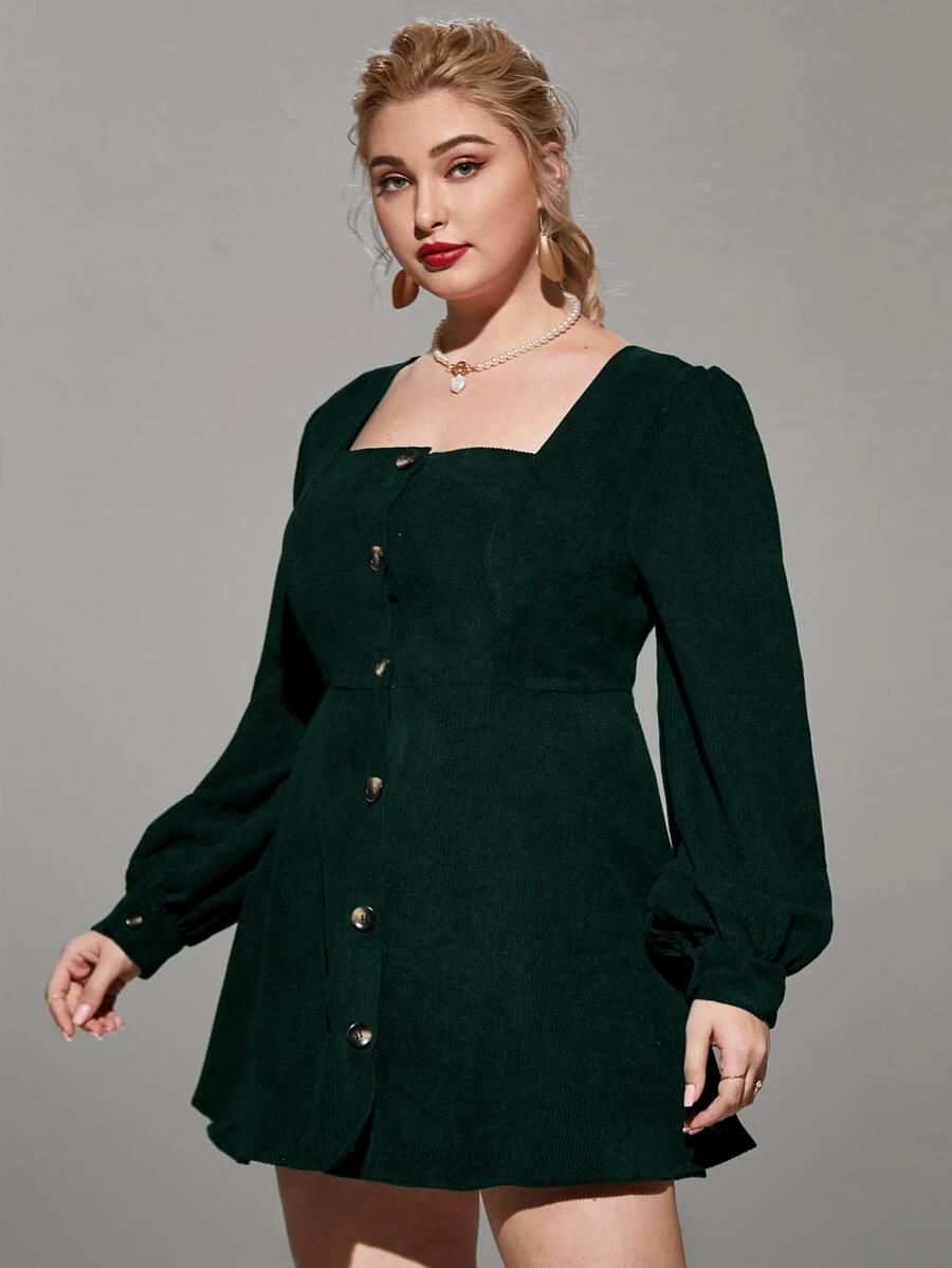 Plus Square Neck Button Through Corduroy Dress Shein Usa Corduroy Dress Dresses Fashion [ 1198 x 900 Pixel ]