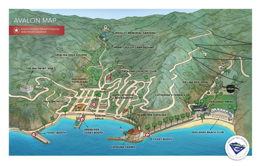 Maps of Avalon and Catalina Island | Visit Catalina Island … | CA Catalina Island Hotels Map on