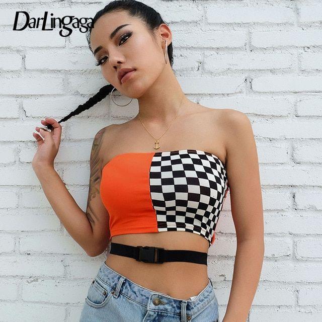 eef8009929 Darlingaga streetwear checkerboard tube top women buckle belt strapless  crop tops sexy casual tank top 2018