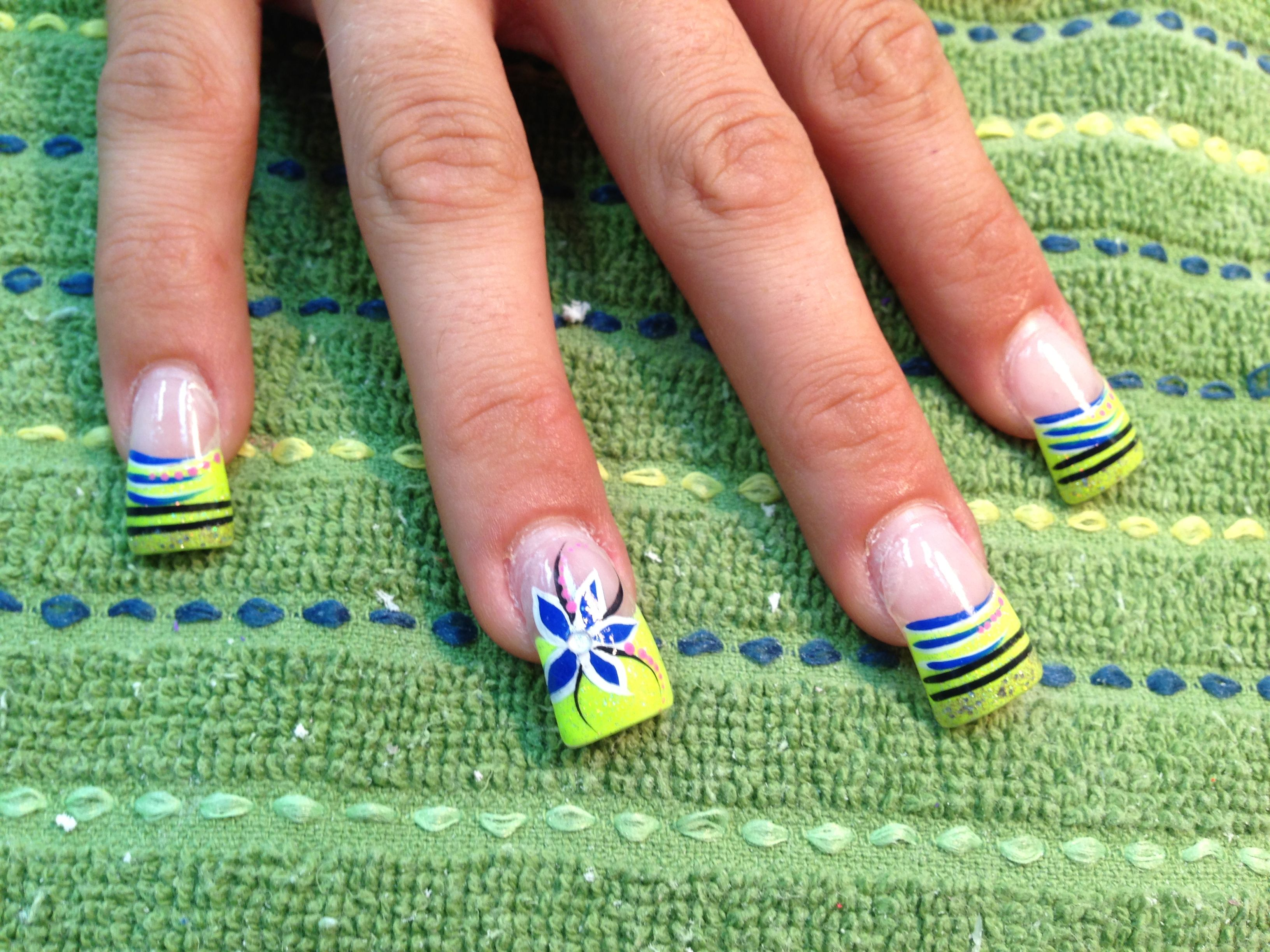 Neon yellow green French with blue design | yellows nails | Pinterest