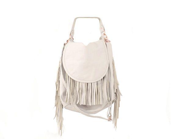 Womens White Leather Fringe Handbag Boho Fashion by StellaandLori ...