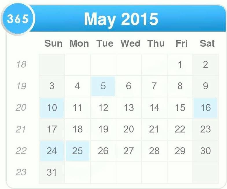 May 2015 Calendar Printable Pdf Template Excel Doc Download May