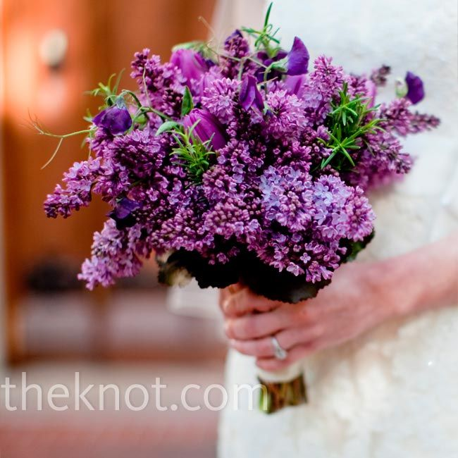 Purple bridal bouquet made of lilacs, tulips & sweat peas // photo by: Clary Pfeiffer Photography //  Bridal Bouquet: Fleurish, The Rebel Florist