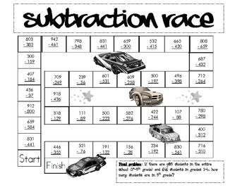 Subtraction Race- 3 digit subtraction with borrowing