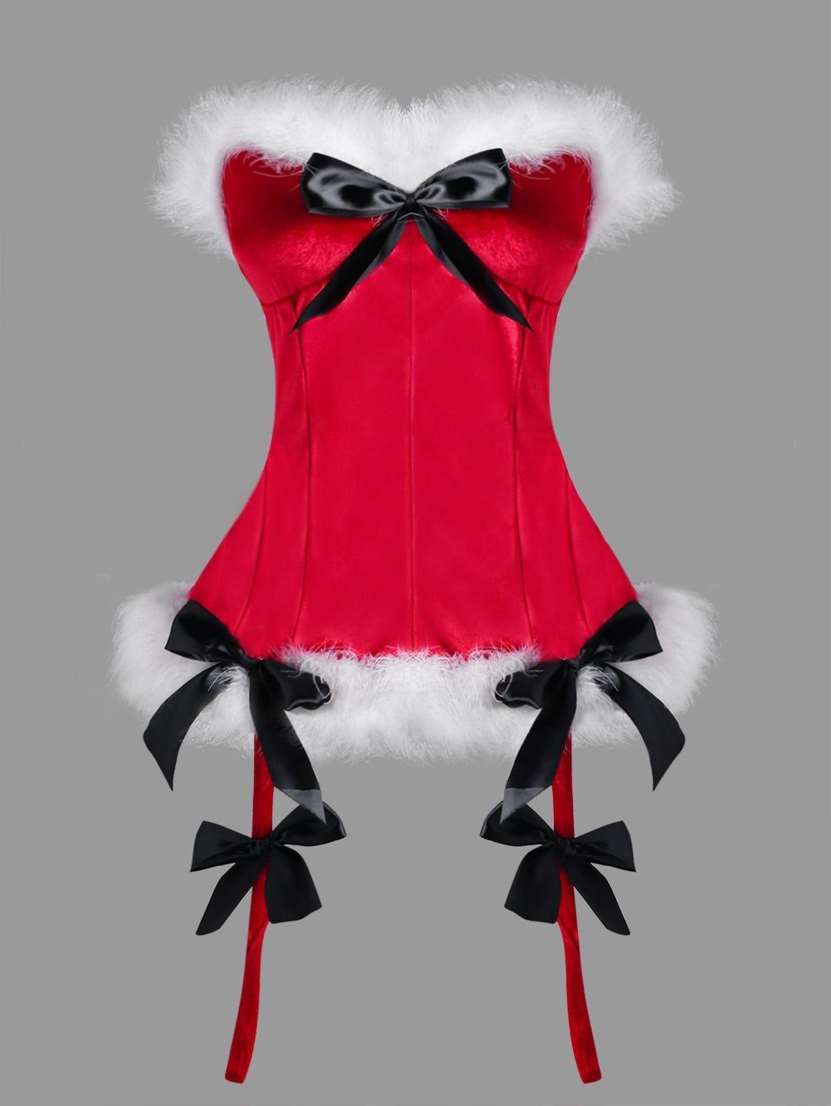 81a31d40531ef Fun idea - budoir photo session as Mrs. Claus - ML Christmas Plus Size Faux  Fur Bowknot Embellished Corset