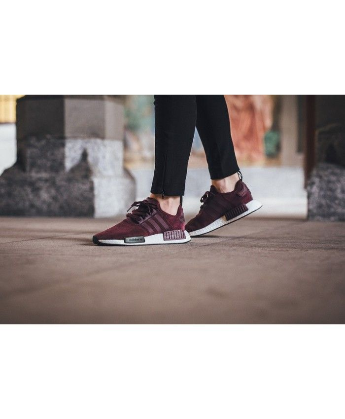 Femme Adidas NMD R1 Runner Suede W Bordeaux/Marron/Solide Gris S75231