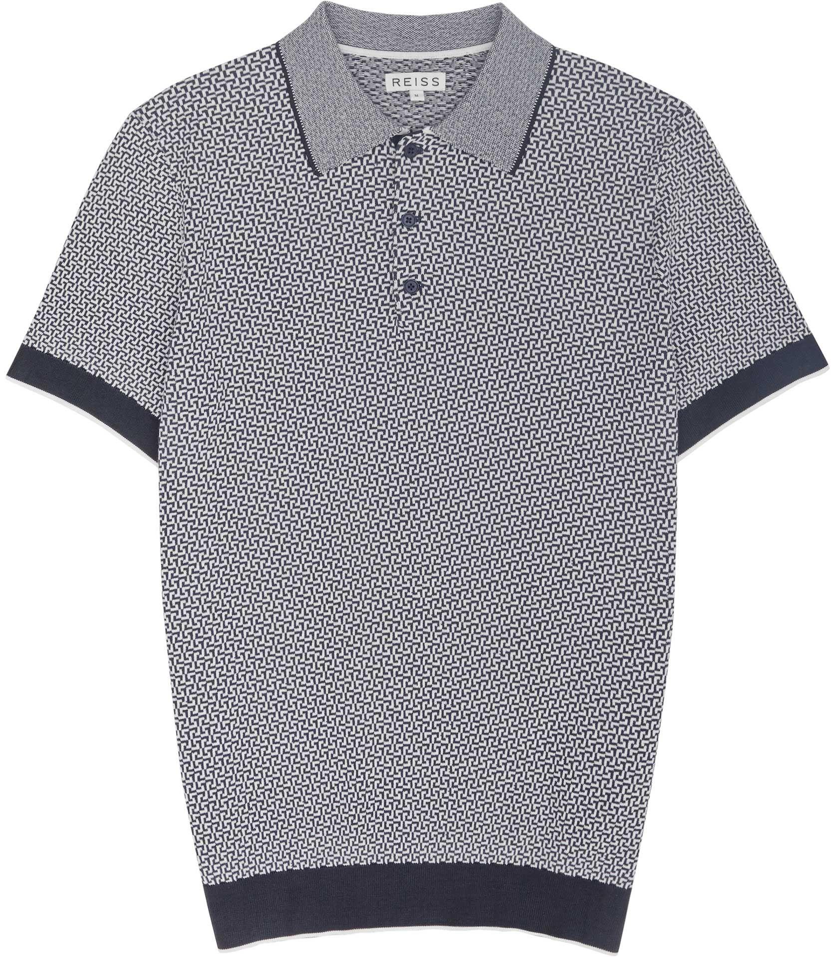 Black t shirt reiss - Mens Navy Geometric Knitted Polo Shirt Reiss Folio