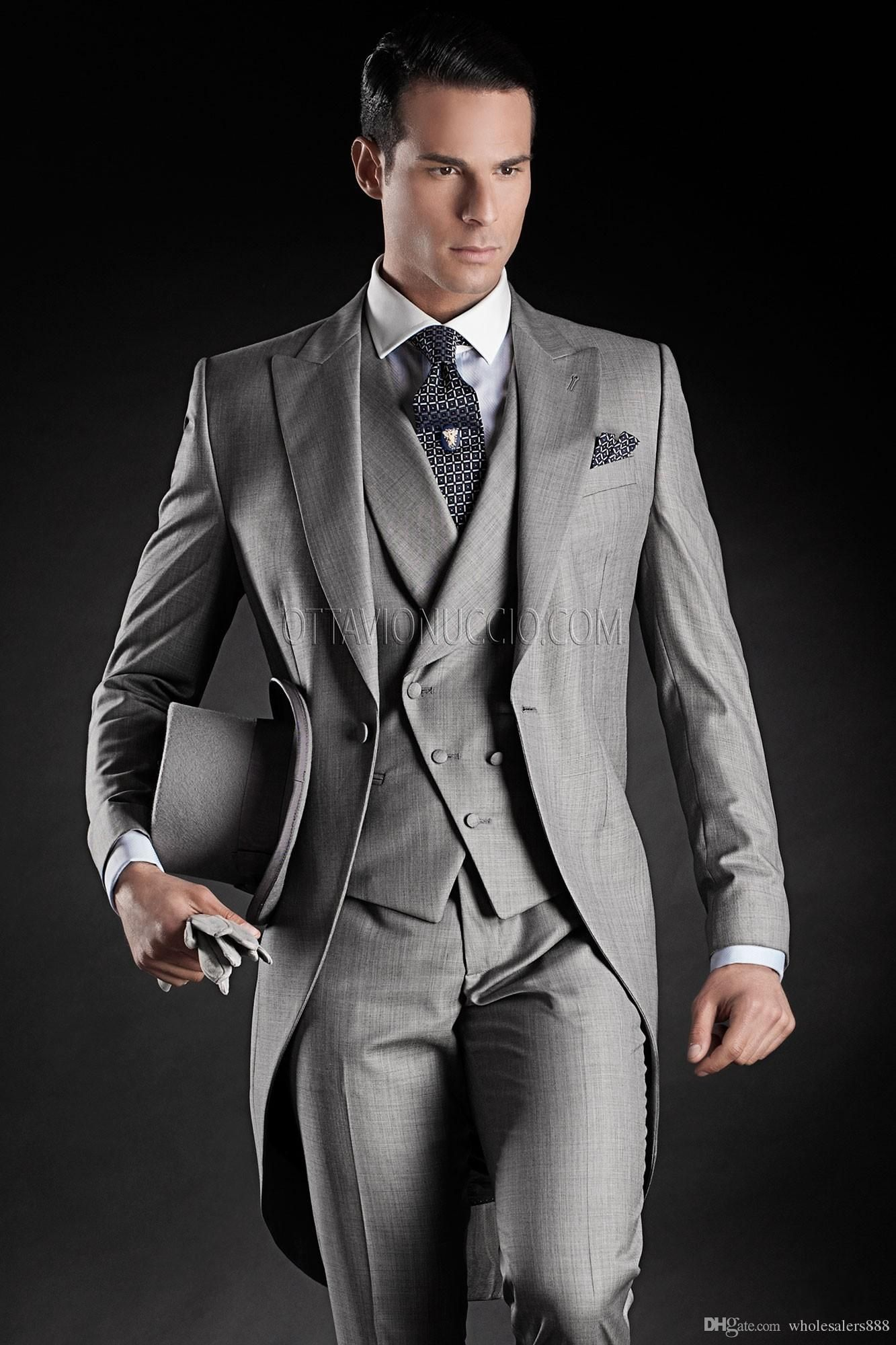 Cheap Custom Made Handsome Mens Wedding Suit Charcoal Grey 2015 ...