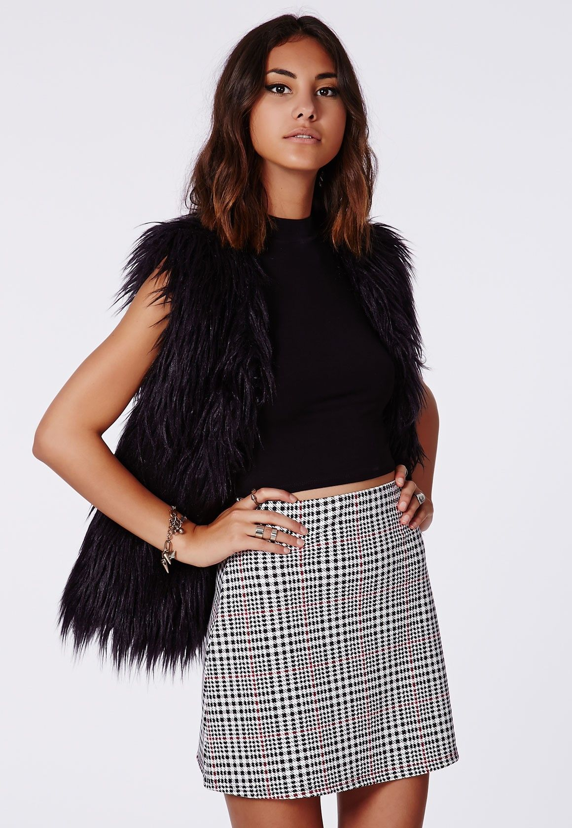 Bet Dogtooth Check A-line Mini Skirt - Skirts - Missguided ...