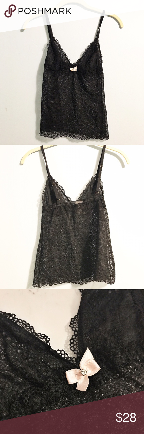 Pout by Victoria's Secret black lingerie tank top Pout by Victoria's Secret black lingerie tank top . Size small. Cute delicate pink bow with crystal. Fast shipping! Pretty sheer/ See through Victoria's Secret Intimates & Sleepwear