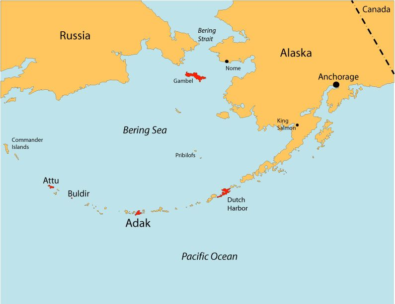 Bering Sea Distances Adak Island Birding Area Adak North Adak South