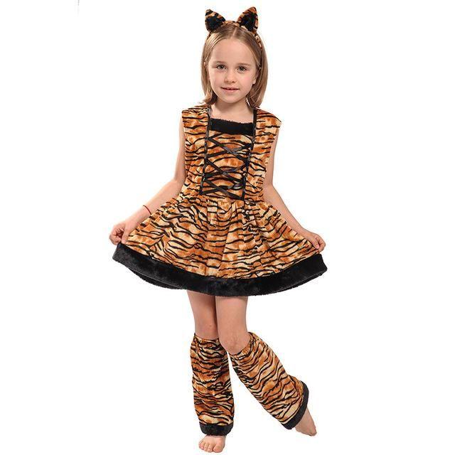 Girls Cute Pink Tiger Fancy Dress Costume Kids Jungle Animal Tigress Outfit