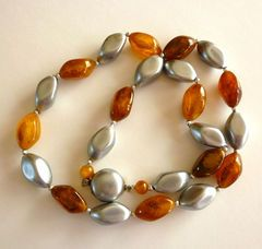 Vintage Lucite Necklace Amber and Silver Beads