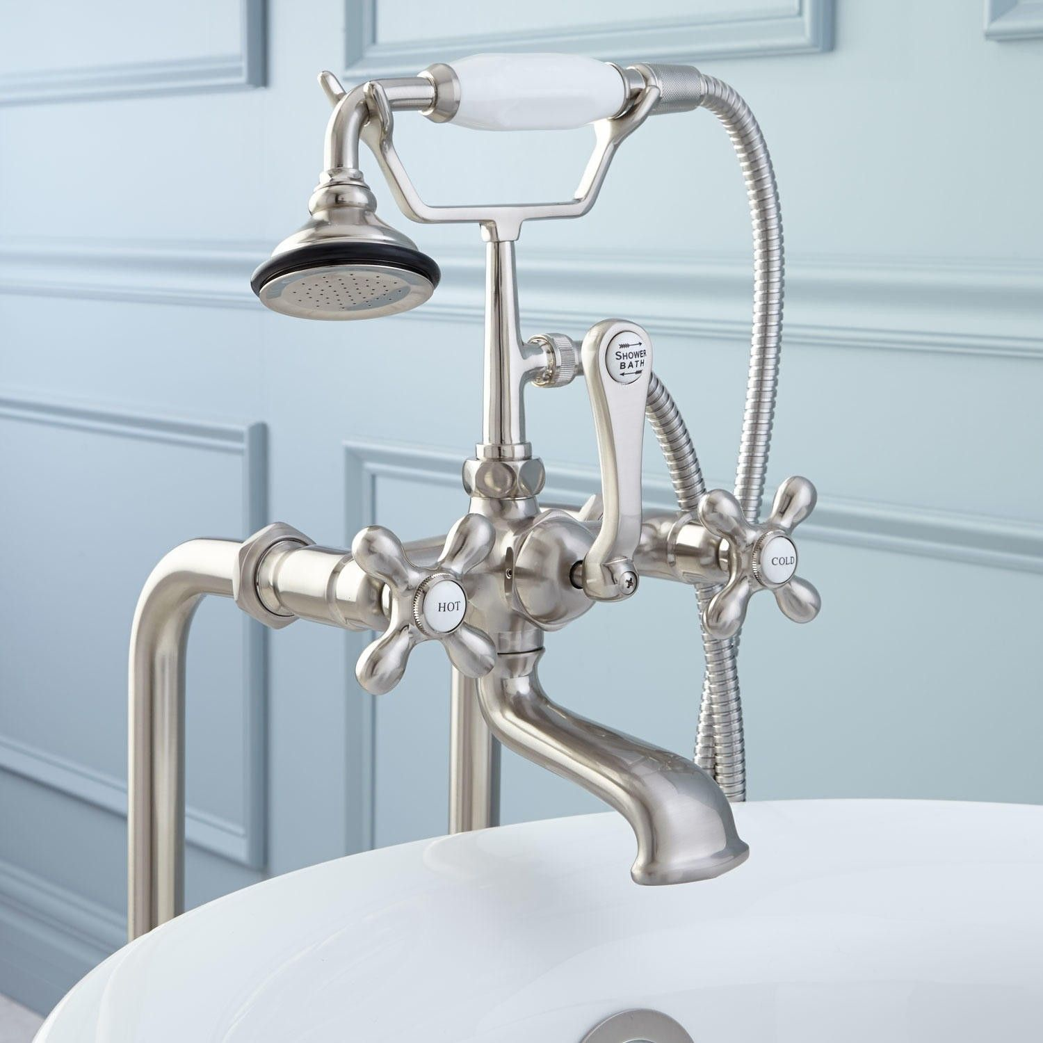 Freestanding English Telephone Tub Faucet, Supplies and Drain ...