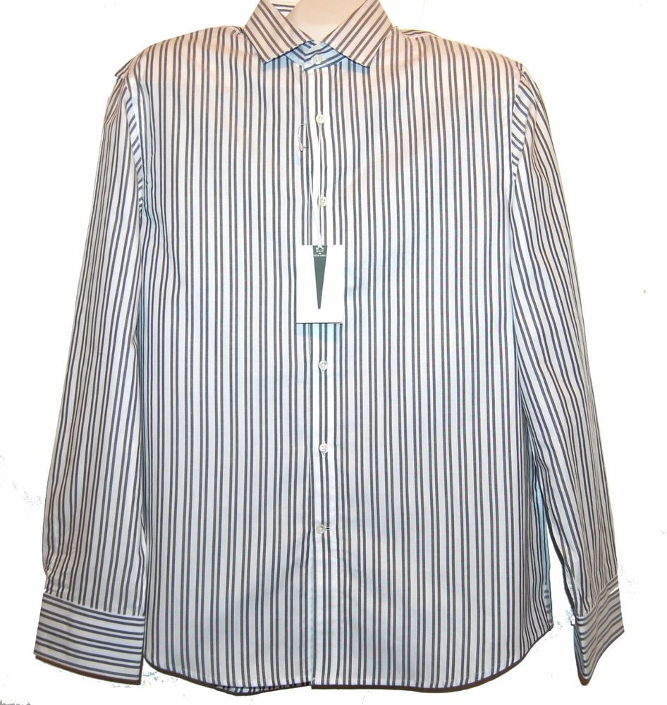 Kent and Curwen Men's White Striped Button Front Dress Casual Shirt Size XL $195 #KentandCurwen #ButtonFront