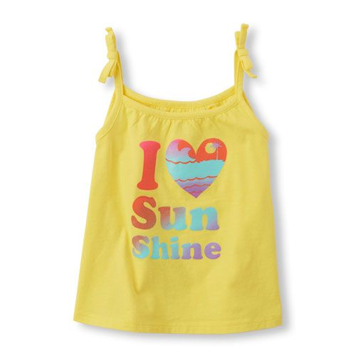 fb37f9fc62e26 Baby Girls Toddler Sleeveless Tie-Strap Tank Top - Yellow - The Children s  Place