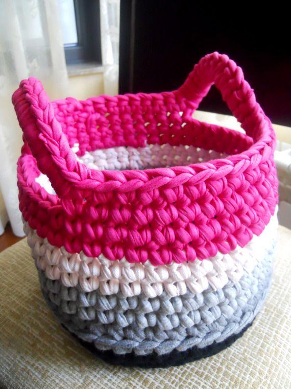 Cesto de trapillo crochet accesorios hogar decoraci n - Cosas de trapillo ...