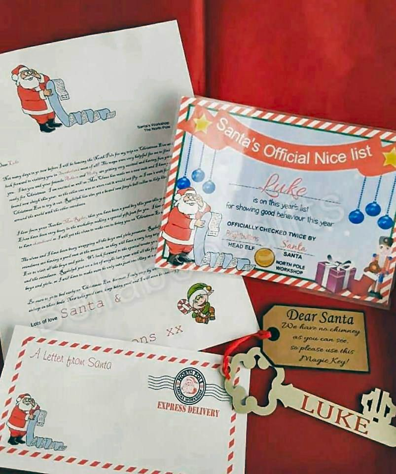 Colouring Picture Christmas 2 Envelope Nice Certificate Letter From Santa