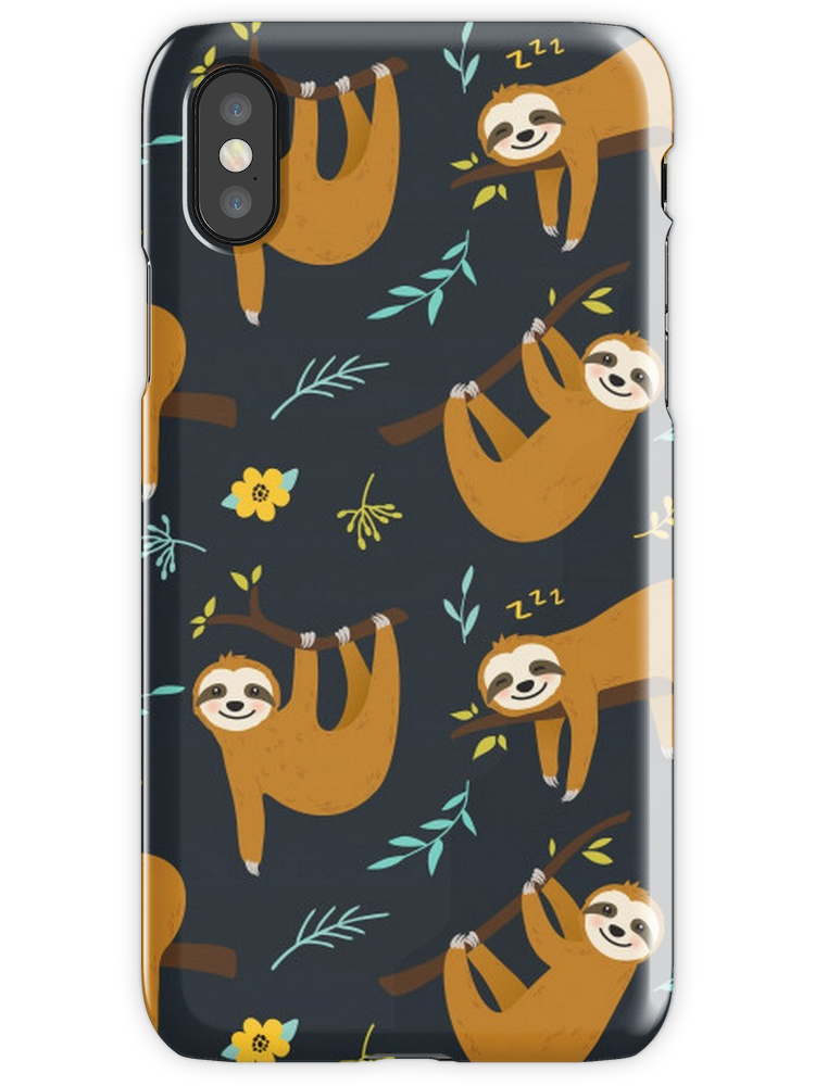 Super Cute Sloth, Leaves and Flowers iPhone X Snap Case #cutesloth