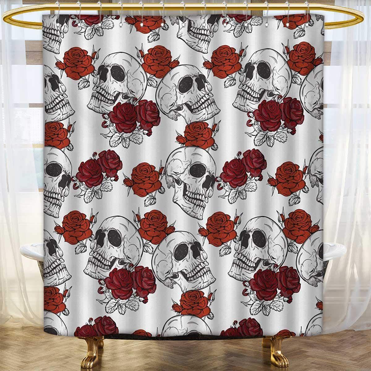 Lacencn Skullshower Curtains Mildew Resistantretro Gothic Dead