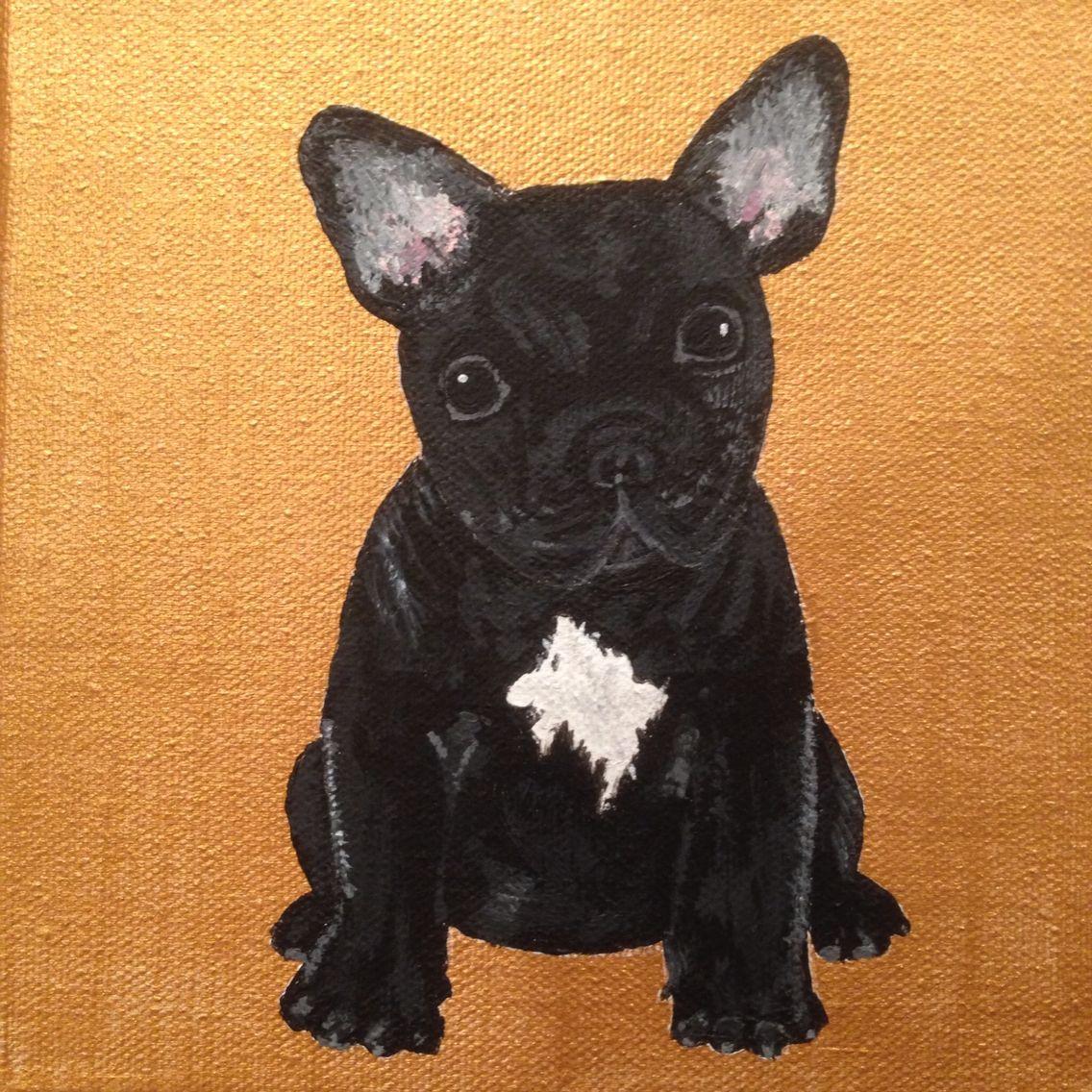 French bulldog painting. One of 3 custom bulldogs I'm