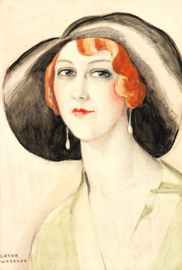 Gerda Wegener Kvindeportraet Med Sort Hat Vibeke Knudsen Art Deco Art