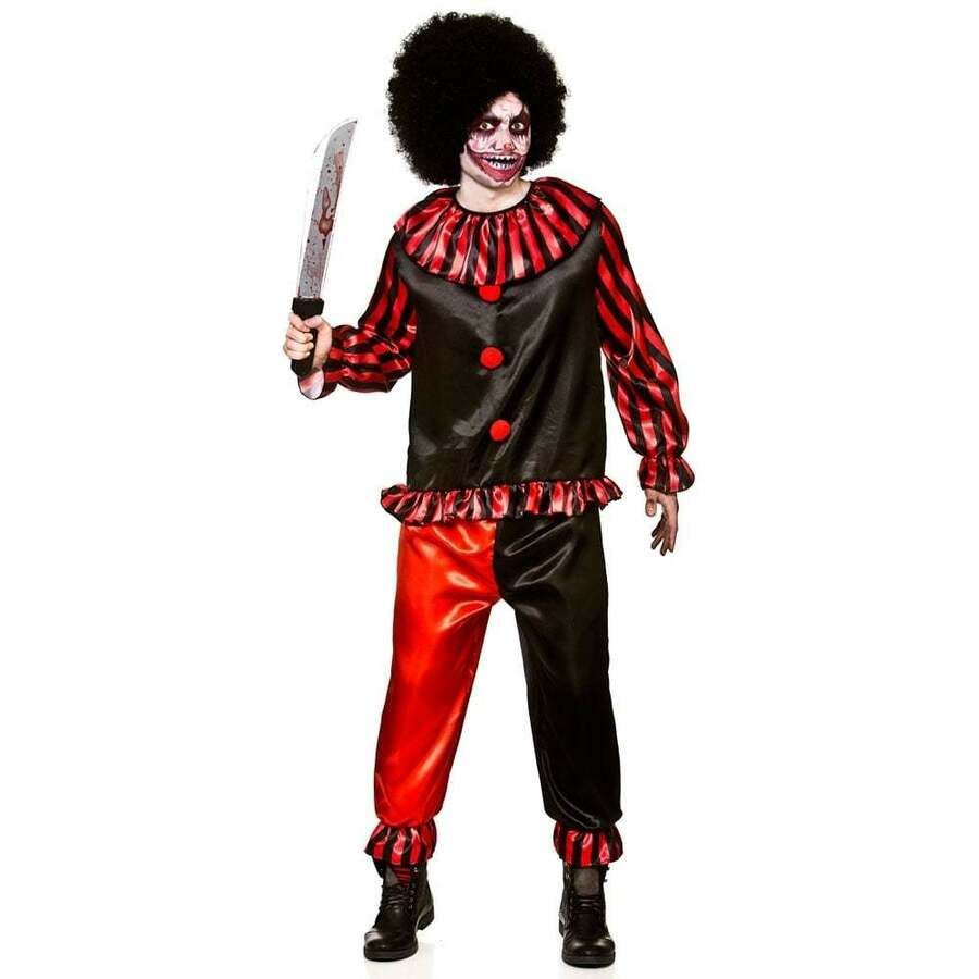 Mens Scary Clown Costume Adult Sinister Evil Jester Halloween Fancy Dress Outfit