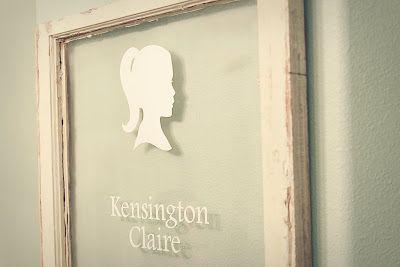 child's name on vintage window