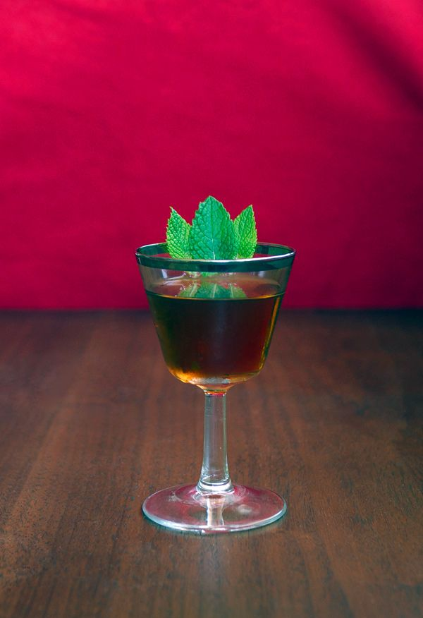 Green Hell (corn whiskey, Carpano Antica vermouth, green chartreuse, and bitters)