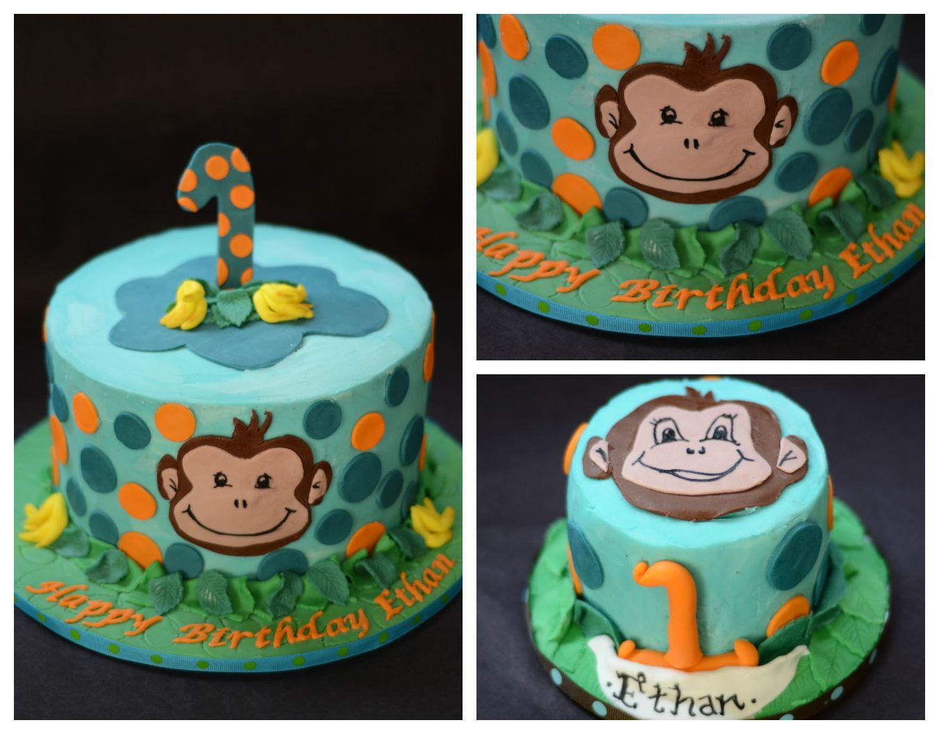 Tremendous Little Monkey First Birthday Cake And Smash Cake Buttercream Birthday Cards Printable Trancafe Filternl