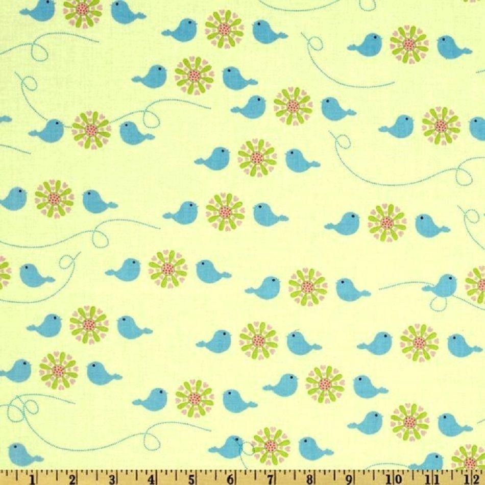1YD FOREST FRIENDS Plump Birds YELLOW Camelot Cottons Baby Nursery ... : nursery quilt fabric - Adamdwight.com