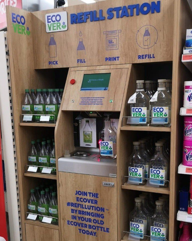 Sainsbury S Is Trialling In Store Refills Of Ecover S Eco Friendly Detergents In 2020 Ecover Refill Washing Up Liquid