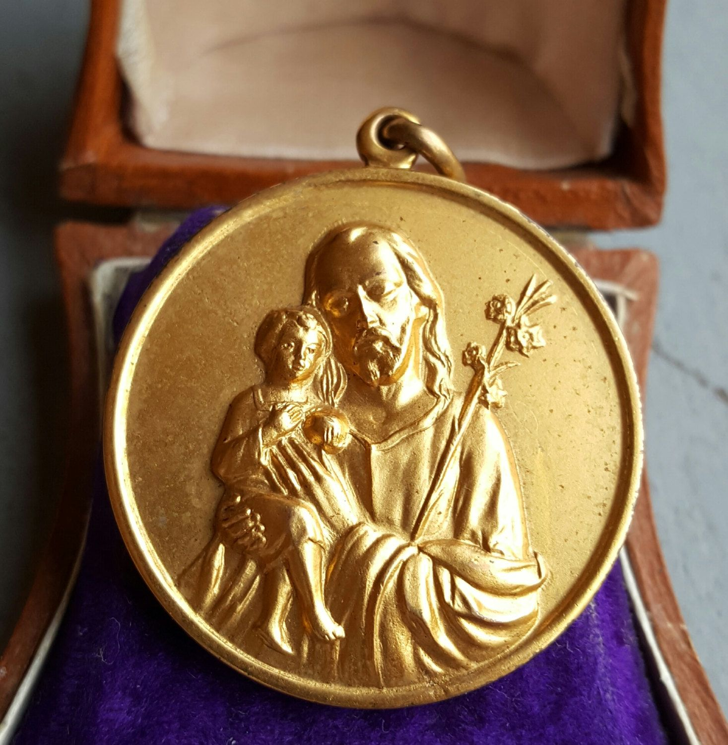 c7d734485f5 Vintage Spanish Saint Joseph Medal San Jose Medal 18K Gold Plated Baby  Jesus Art Nouveau Catholic Gift Religious Jewelry Catholic Jewelry by ...