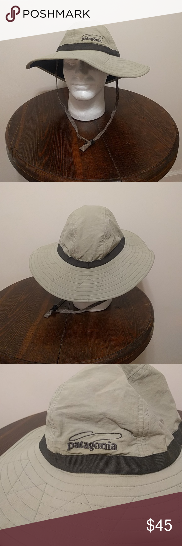 Patagonia fly fishing bucket hat Patagonia fly fishing bucket hat. Super  breathable. Tan with green-ish strap on the crown. Worn a handful of times. 08a37877caec