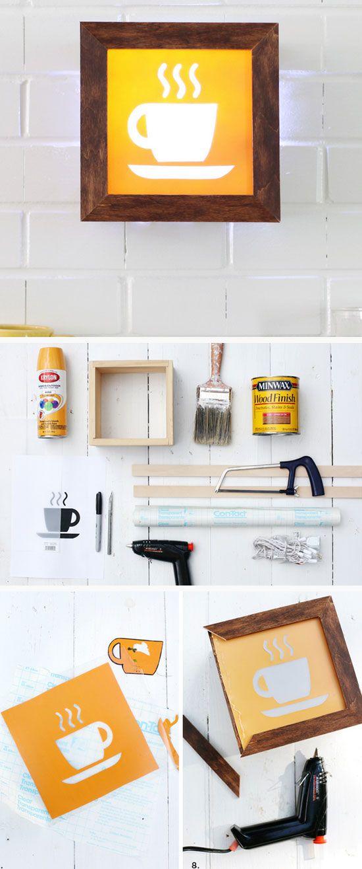 DIY Light-Up Café Sign   Click Pic for 28 DIY Kitchen Decorating Ideas on a Budget   DIY Home Decorating on a Budget   SweetLeaf Stevia® Sweetener   #DIY #DIYkitchen #DIYkitchendecor #kitchendecor #kitchenremodel