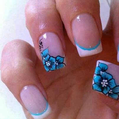 Blue flower nail ideas pinterest blue flowers beautiful nail flower art galaxy nails too cool nail art summer nail art designs prinsesfo Image collections