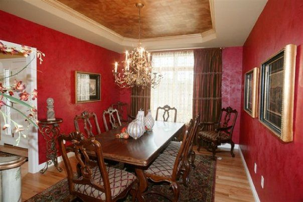 Dining Room Tuscan Style with living Venetian plaster walls