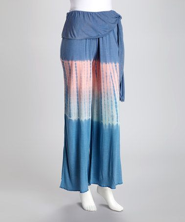 Take a look at this Blue & Peach Ombre Tie-Dye Palazzo Pants by Royal Handicrafts on #zulily today!