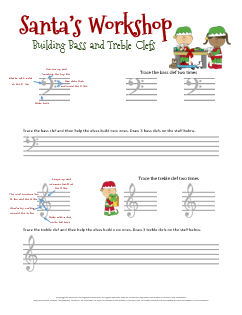 Christmas Music Worksheets for helping kids learn to draw the ...