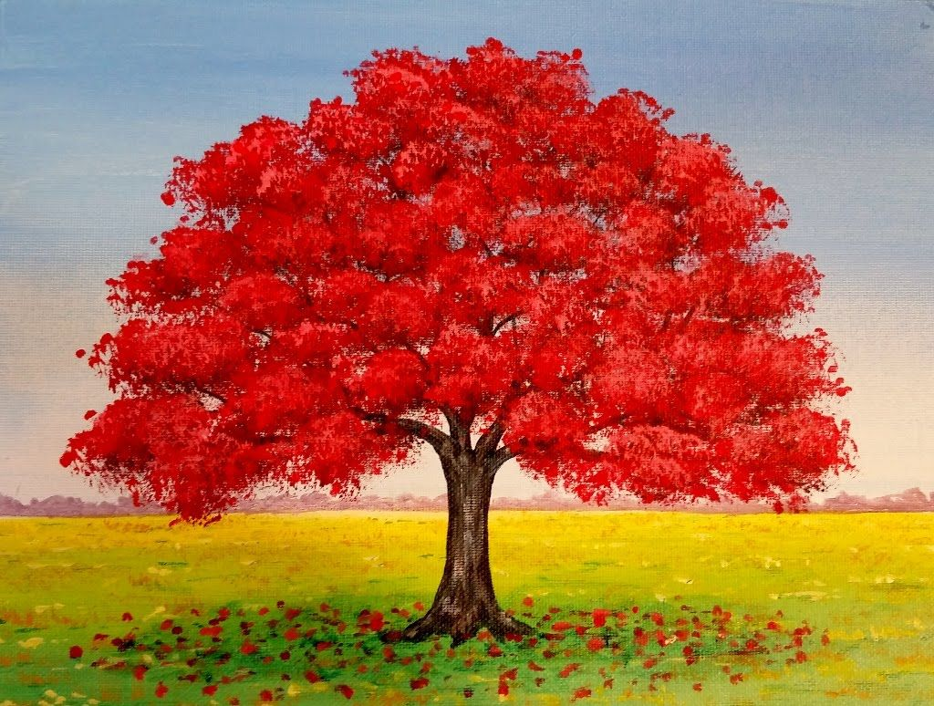 live red oak tree fall landscape acrylic painting tutorial