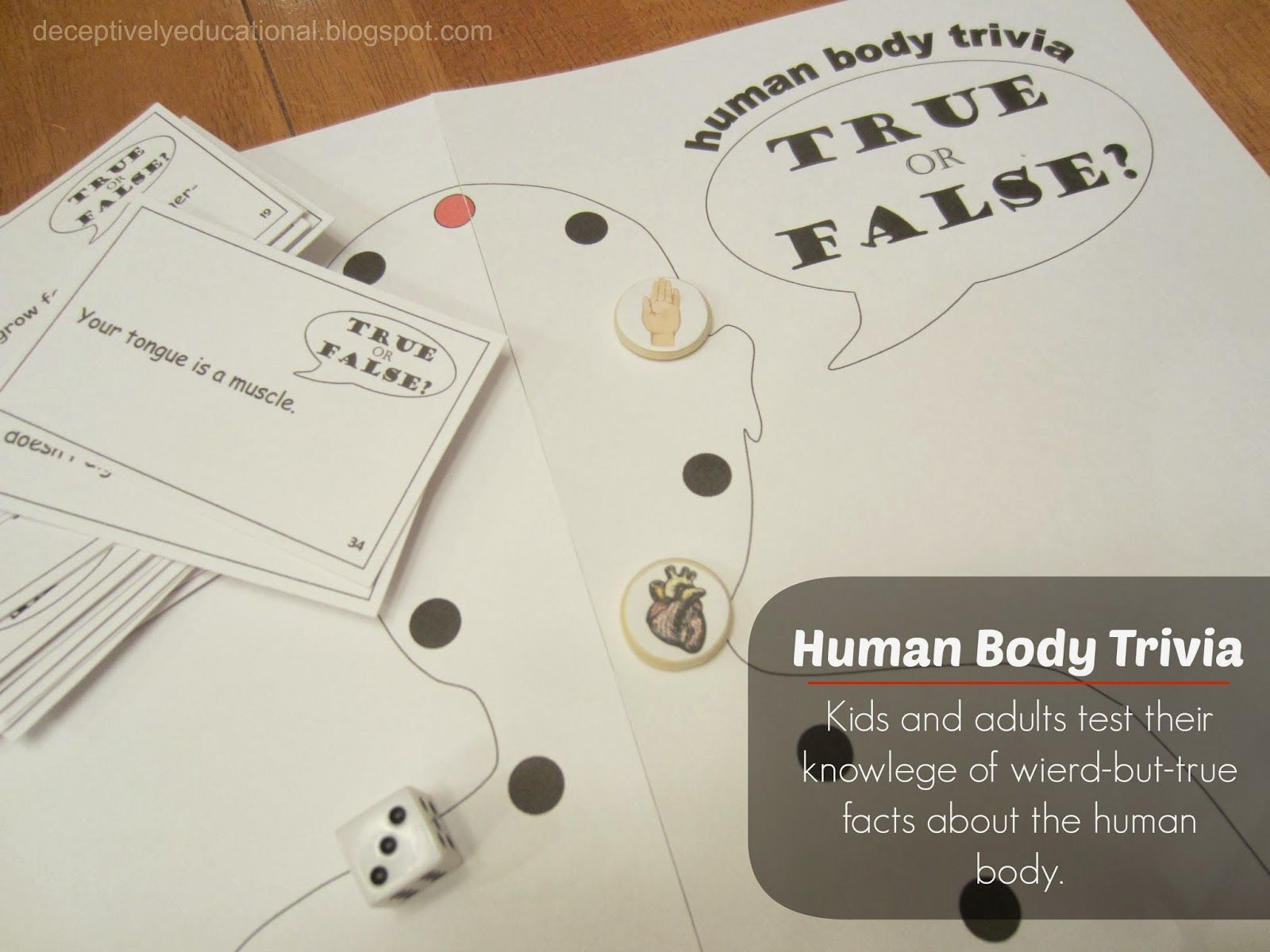 Human Body Trivia Printable Board Game Relentlessly Fun