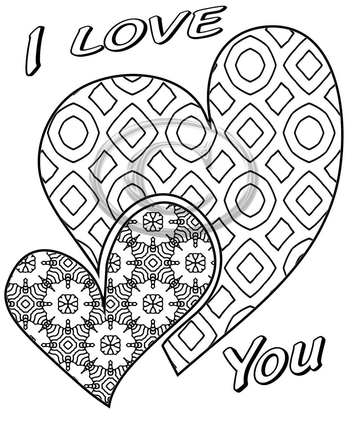 I Love You 2 Hearts coloring page that is a printable instant ...
