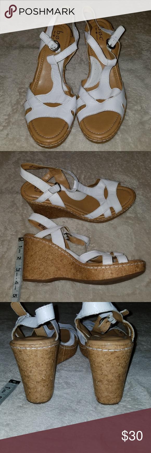 794b198f86 NEW Born BOC Wedge Sandles New white leather wedge cork heeled Sandals.  Size 9M.